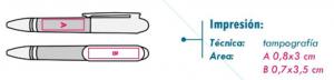 area de impresión bolígrafo insignia